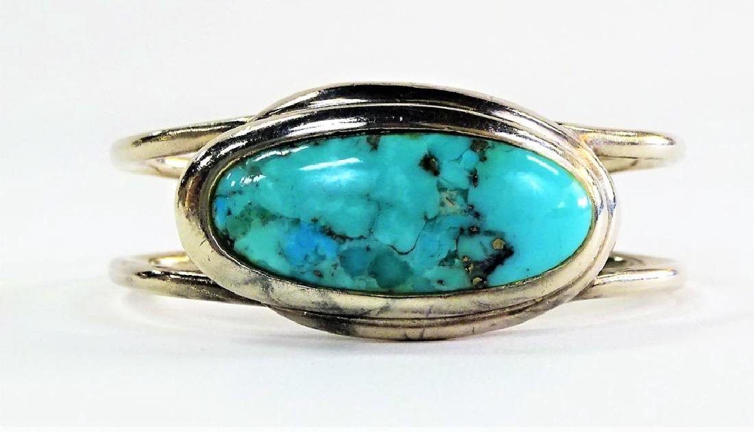 BARSE HEAVY STERLING TURQUOISE BANGLE CORAL RING - 3