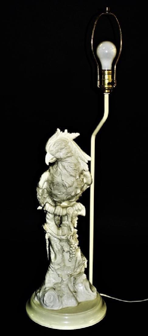 IMPRESSIVE CONTINENTAL BLANC DE CHINE PARROT LAMP