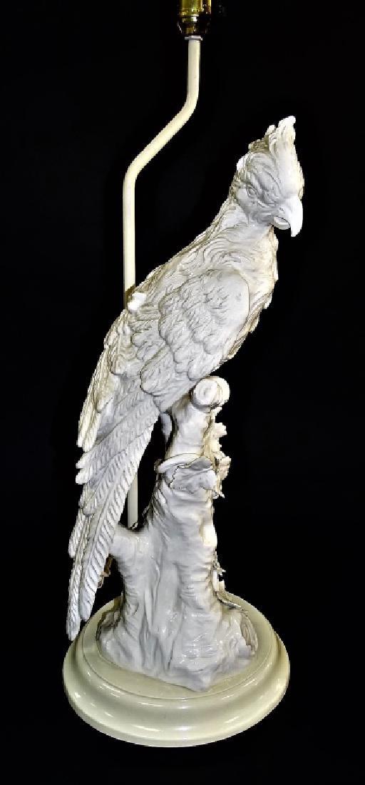 IMPRESSIVE CONTINENTAL BLANC DE CHINE PARROT LAMP - 3