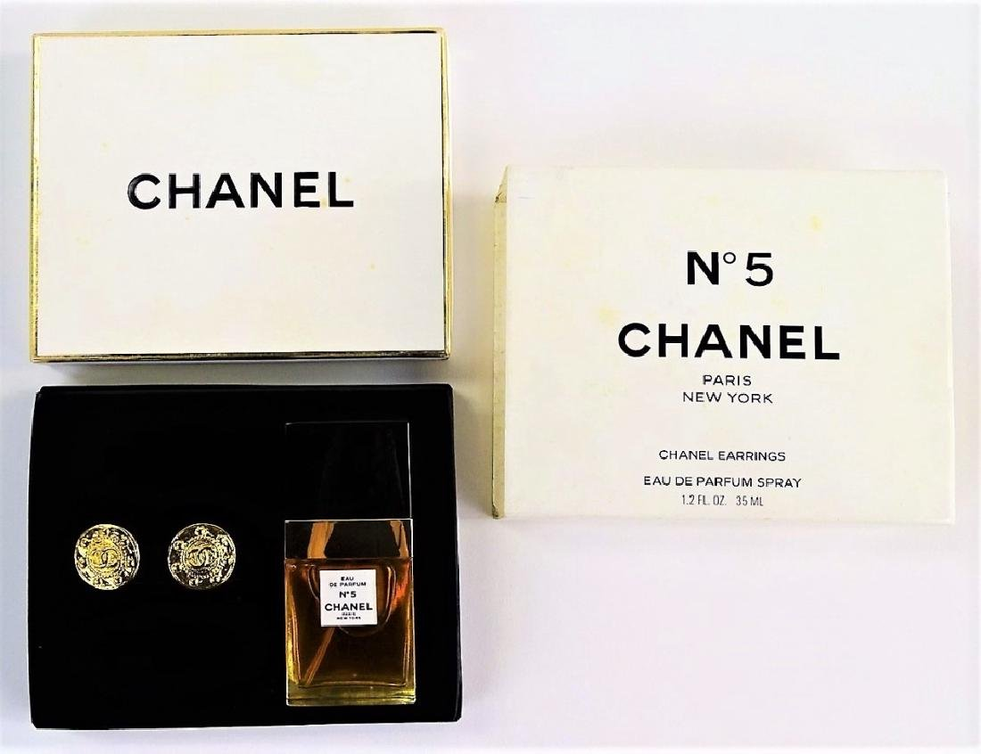 VINTAGE CHANEL NO. 5 PERFUME & EARRING SET