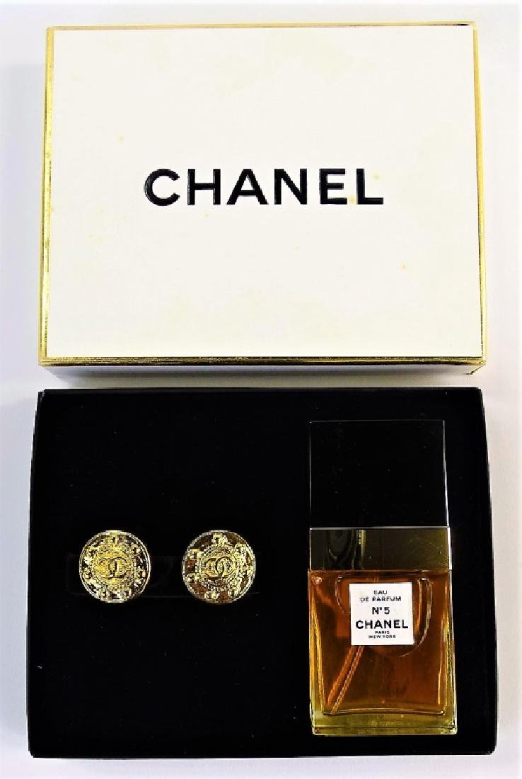 VINTAGE CHANEL NO. 5 PERFUME & EARRING SET - 2