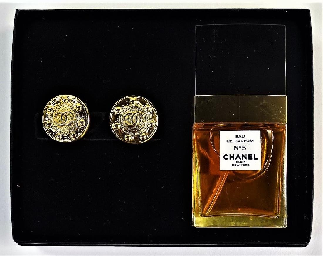 VINTAGE CHANEL NO. 5 PERFUME & EARRING SET - 3
