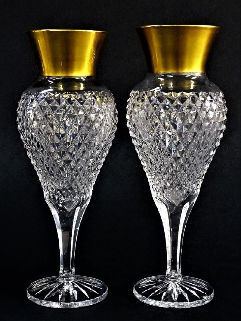 PR FRENCH STYLE CUT CRYSTAL VASES WITH GILT RIMS
