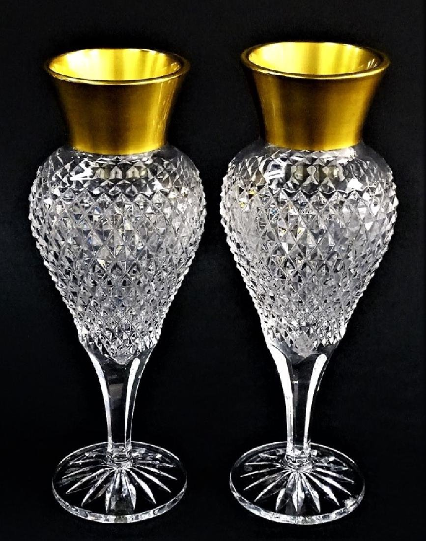 PR FRENCH STYLE CUT CRYSTAL VASES WITH GILT RIMS - 2