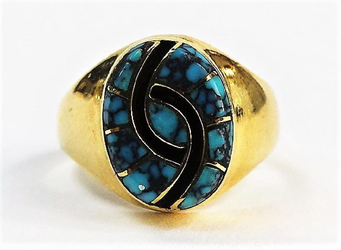 RARE ZUNI 14KT YG SPIDER WEB AMY QUANDALACEY - 2