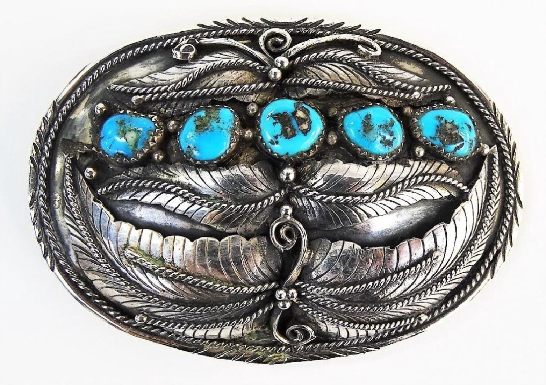 LARGE NATIVE AMERICAN STERLING TURQUOISE BUCKLE