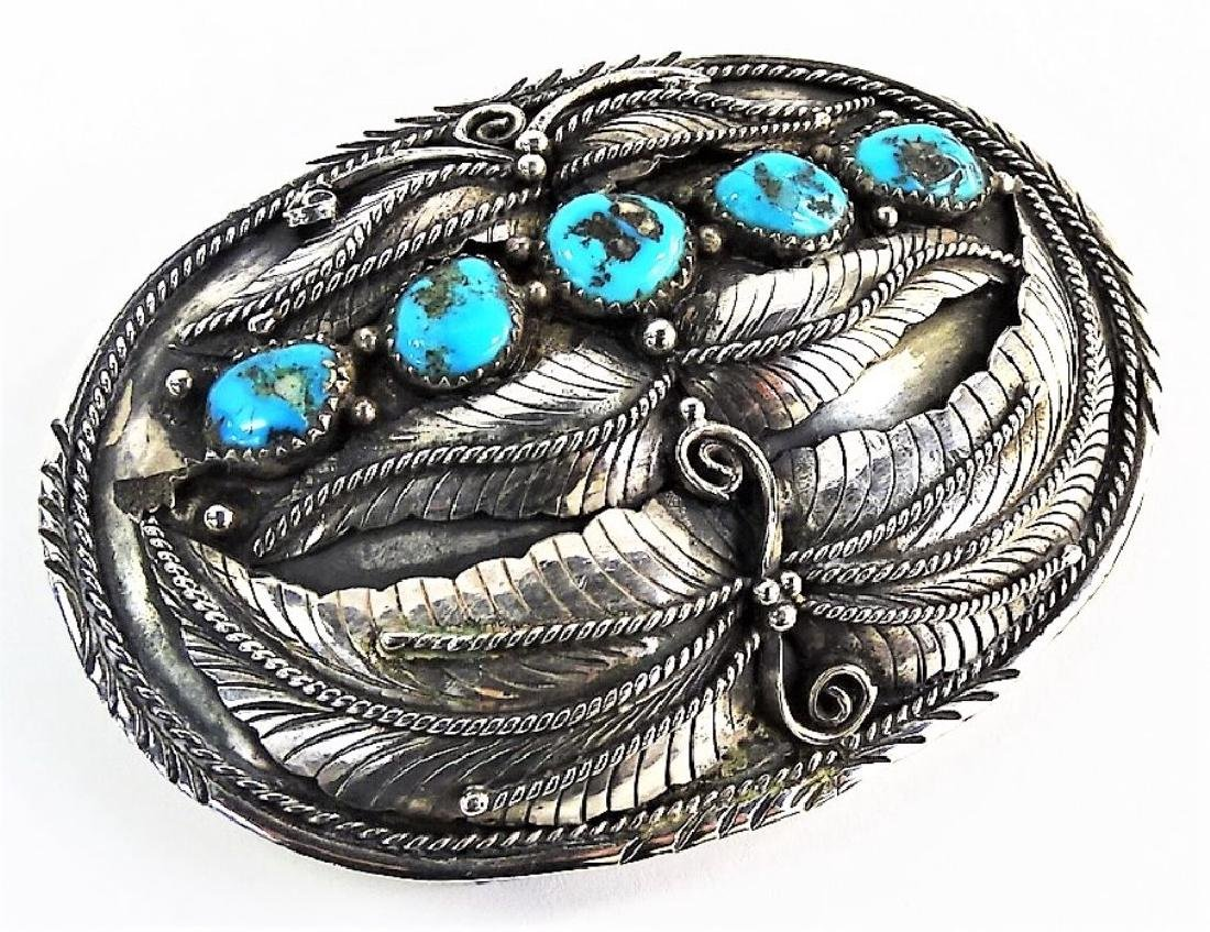 LARGE NATIVE AMERICAN STERLING TURQUOISE BUCKLE - 2