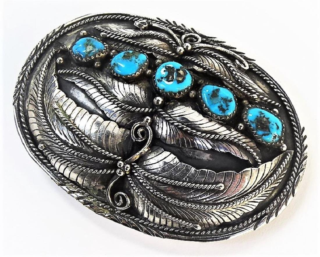 LARGE NATIVE AMERICAN STERLING TURQUOISE BUCKLE - 3