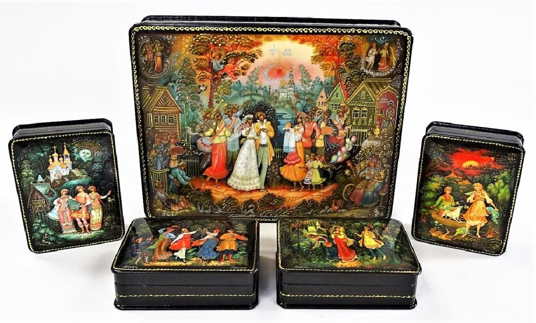 HAND PAINTED M.O.P. RUSSIAN LACQUER BOX SET