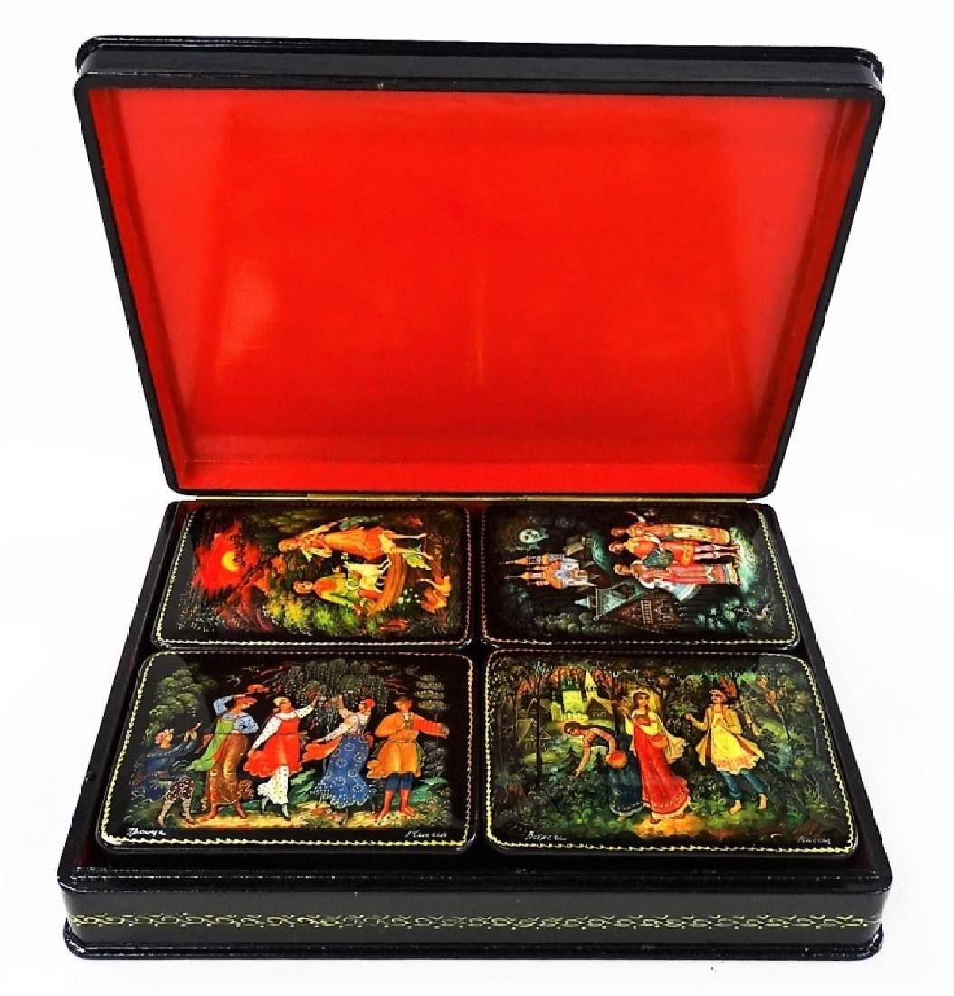 HAND PAINTED M.O.P. RUSSIAN LACQUER BOX SET - 2