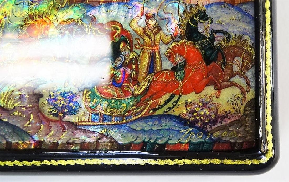 HAND PAINTED MOTHER OF PEARL RUSSIAN LACQUER BOX - 3