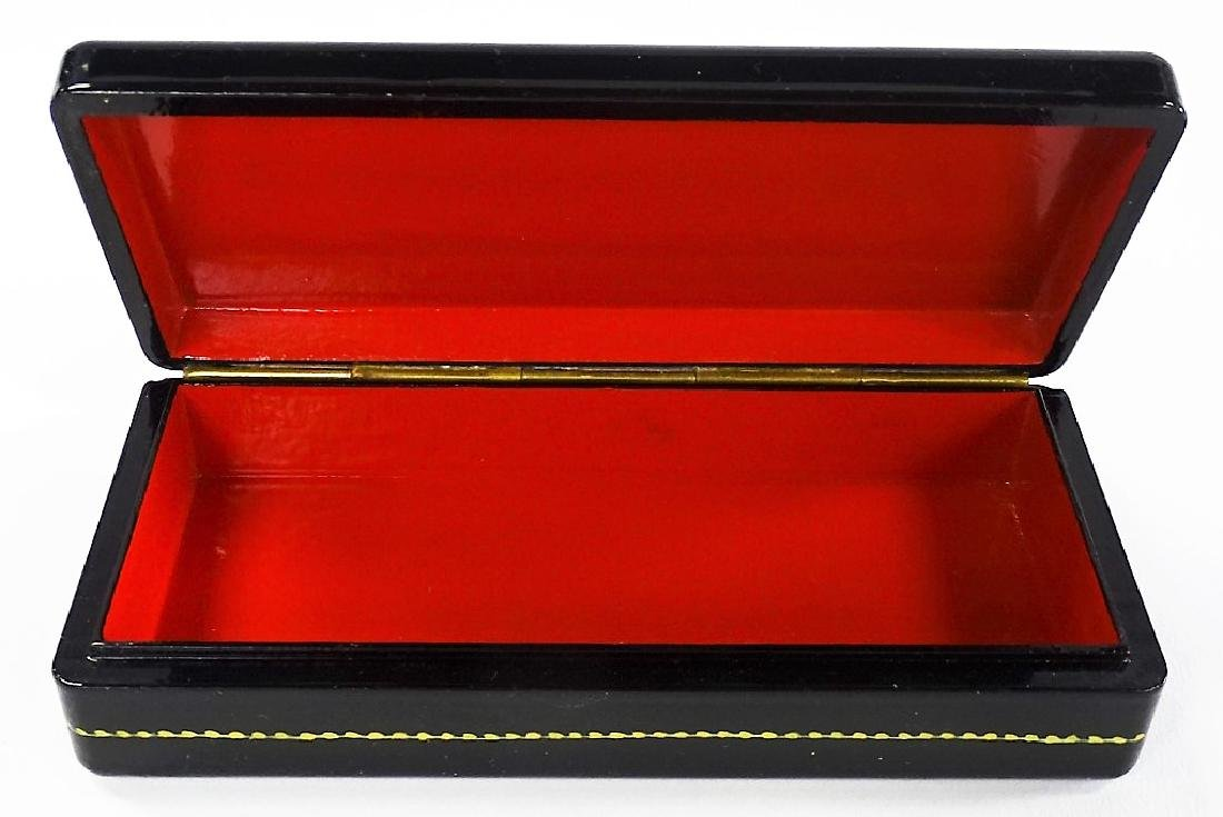 HAND PAINTED MOTHER OF PEARL RUSSIAN LACQUER BOX - 4