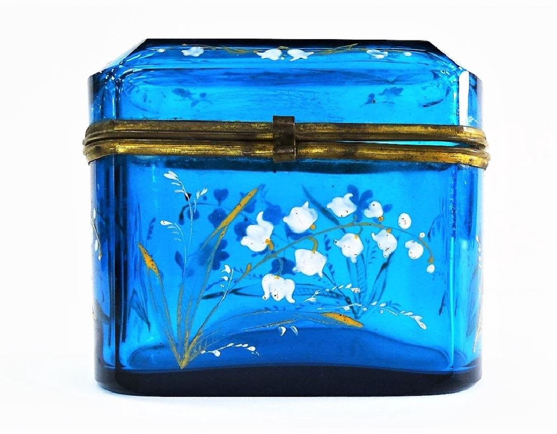 MARY GREGORY STYLE ENAMELED GLASS DRESSER BOX