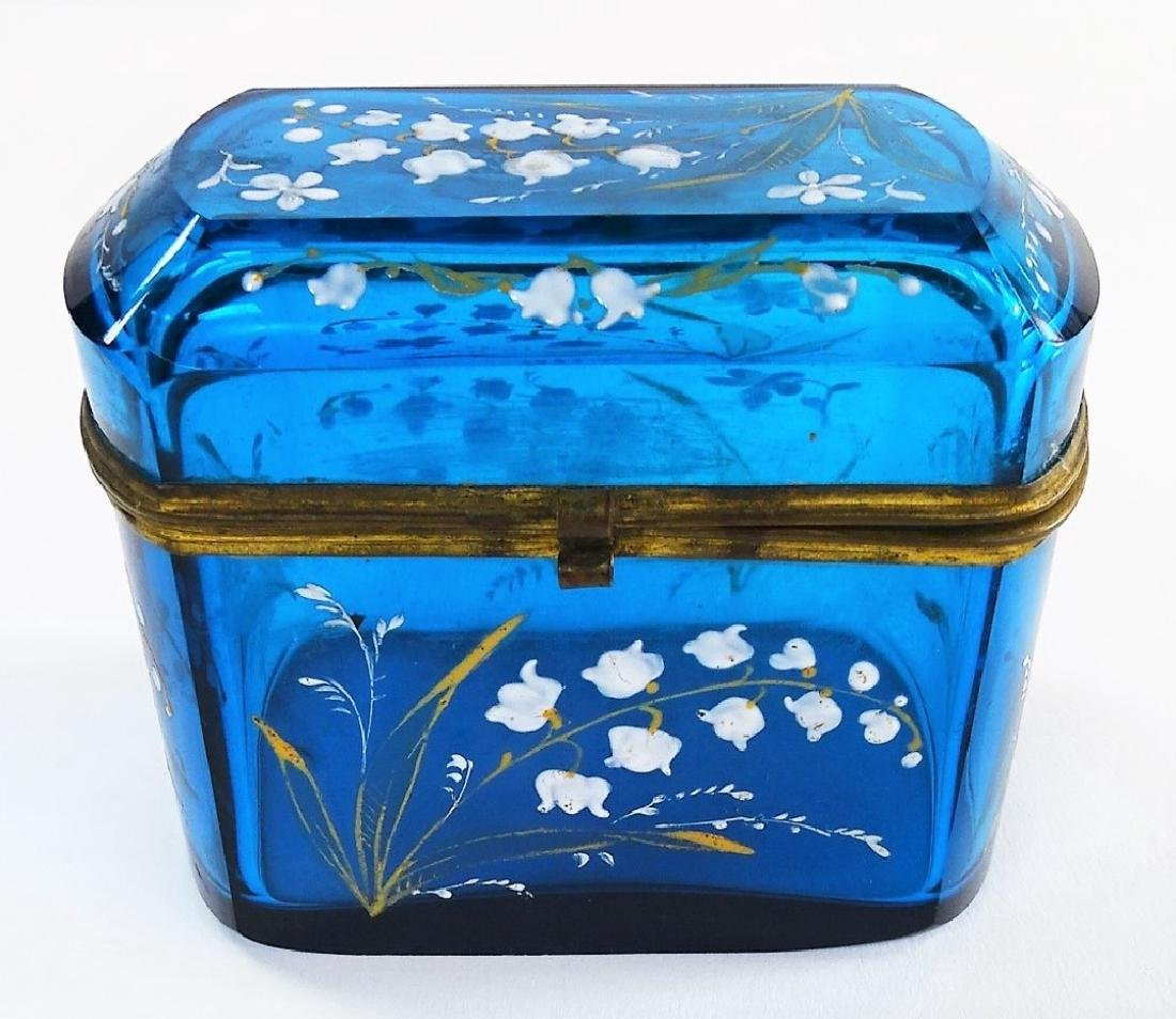 MARY GREGORY STYLE ENAMELED GLASS DRESSER BOX - 2