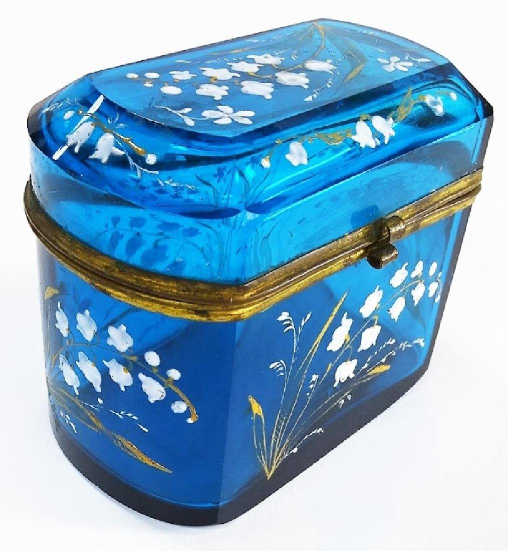 MARY GREGORY STYLE ENAMELED GLASS DRESSER BOX - 3