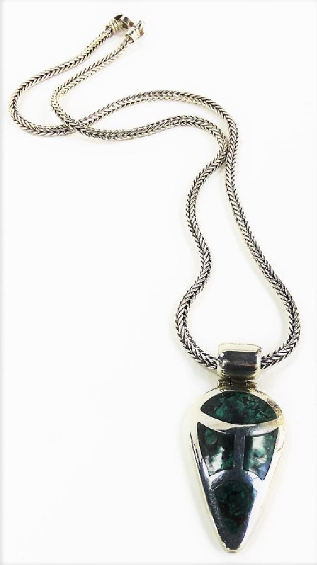NAVAJO CRAFTED .950 STERLING PENDANT NECKLACE - 2