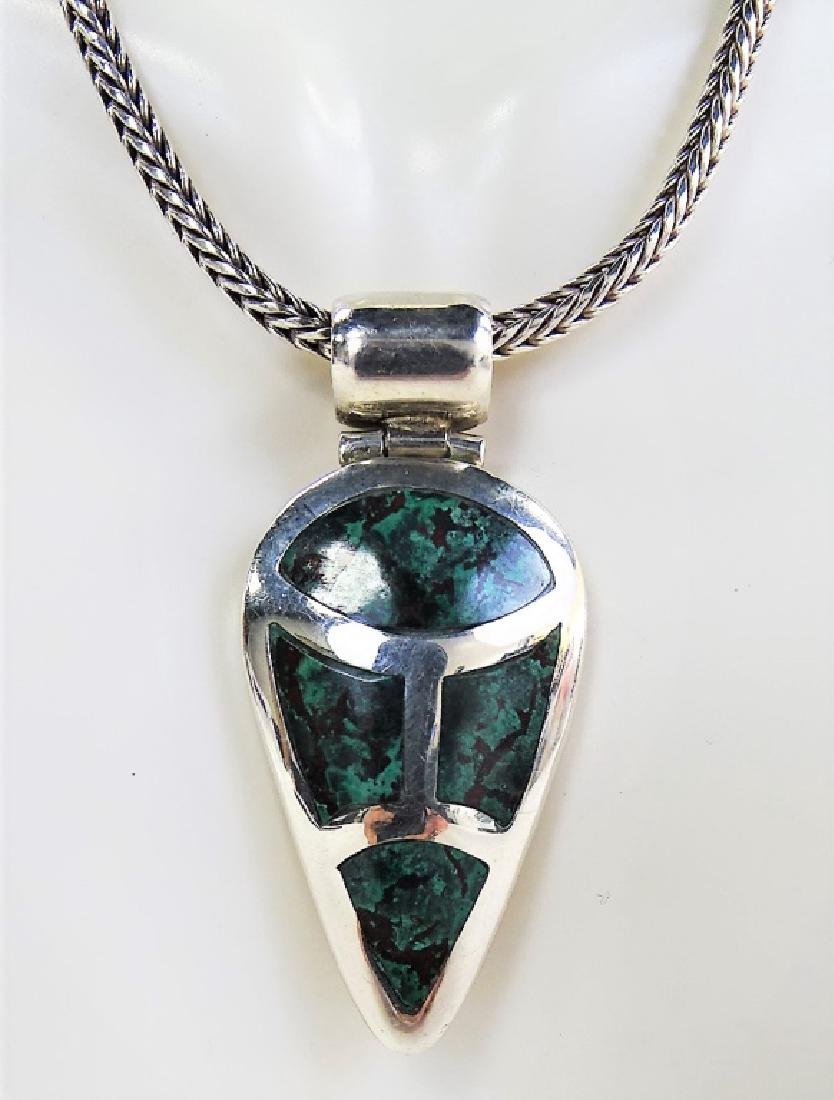 NAVAJO CRAFTED .950 STERLING PENDANT NECKLACE - 3