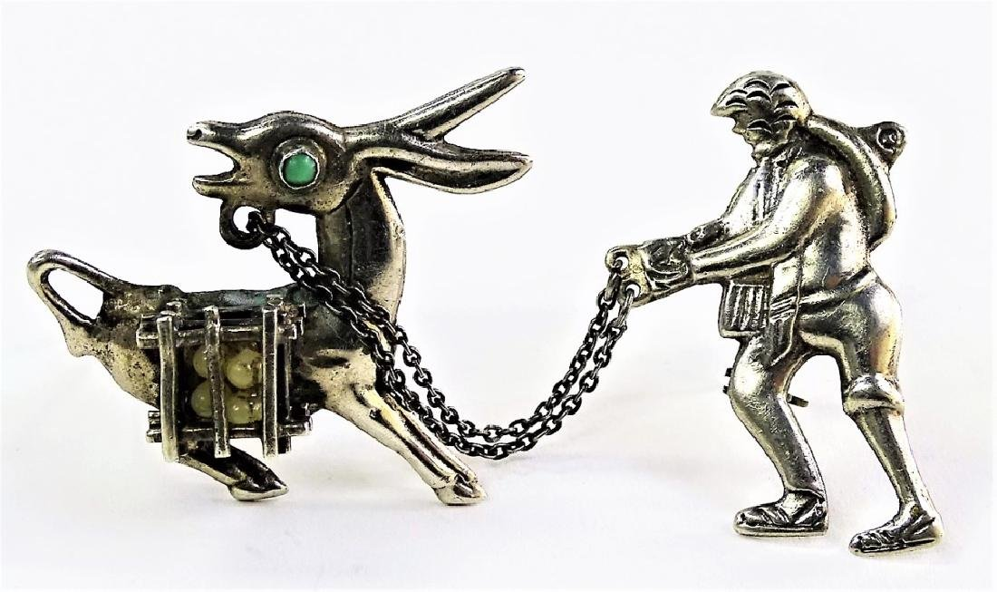 ANTIQUE TAXCO MEXICO FIGURAL STERLING SILVER PIN