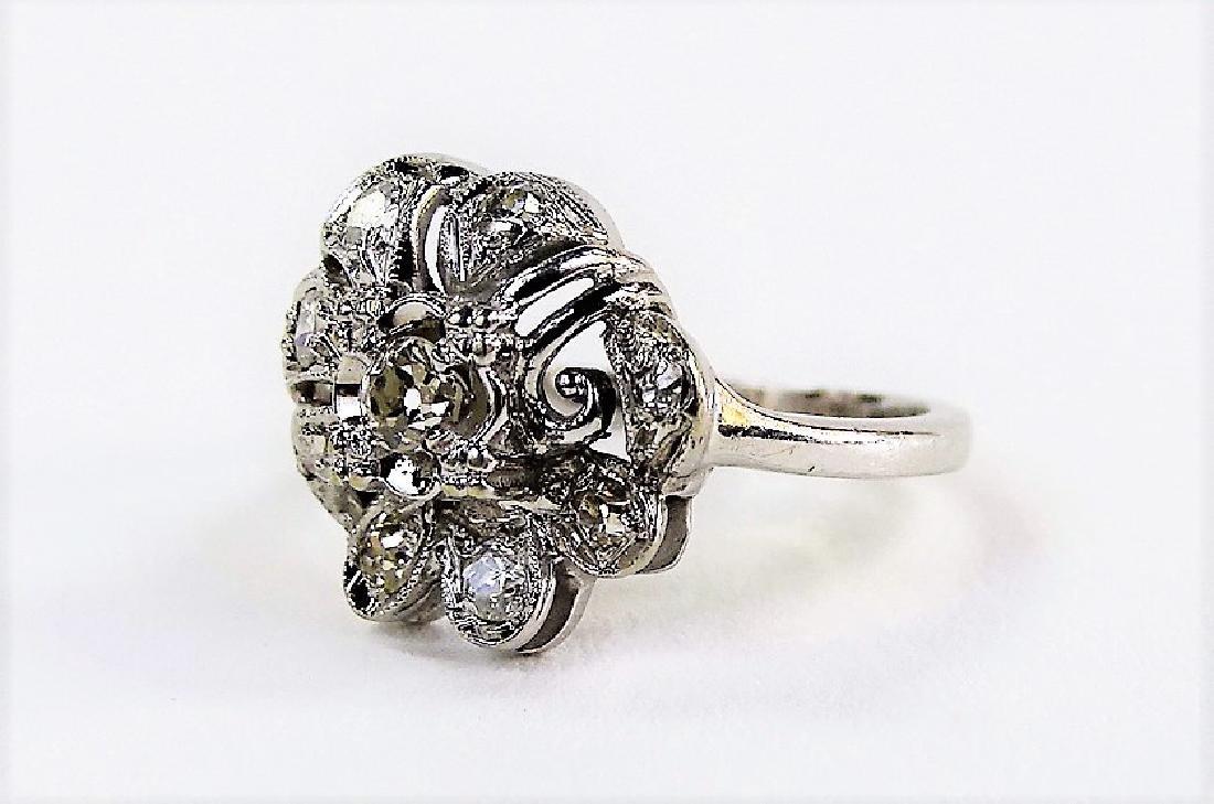 LADIES 14KT WHITE GOLD FLORIFORM DIAMOND RING - 2