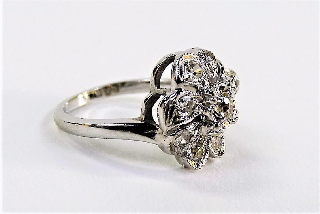 LADIES 14KT WHITE GOLD FLORIFORM DIAMOND RING - 3