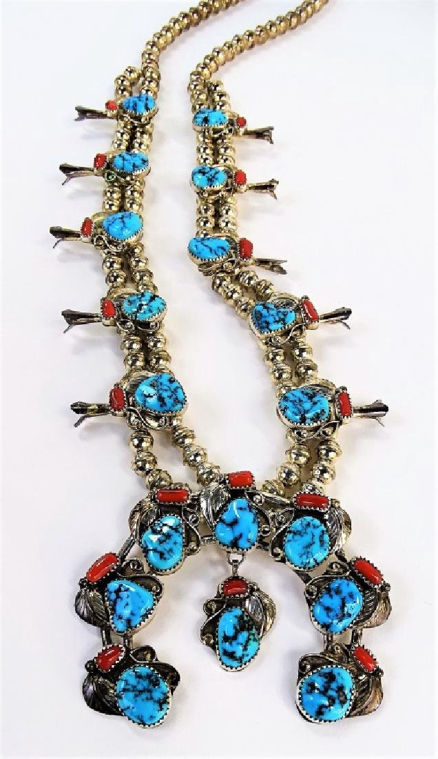 STUNNING MEXICAN STERLING SQUASH BLOSSOM NECKLACE