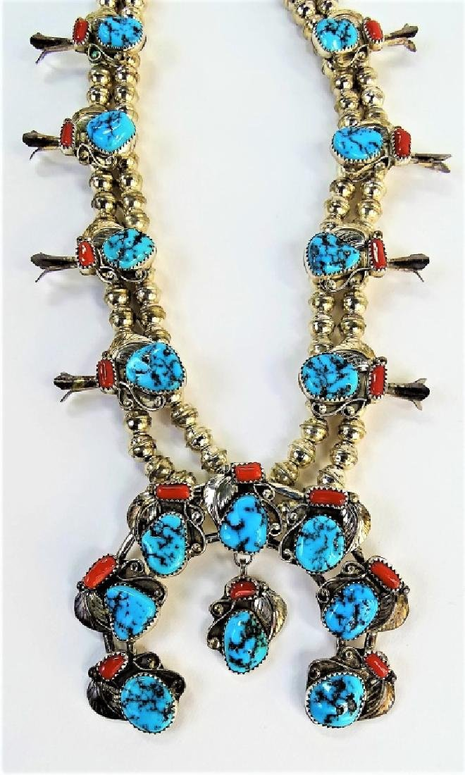 STUNNING MEXICAN STERLING SQUASH BLOSSOM NECKLACE - 2