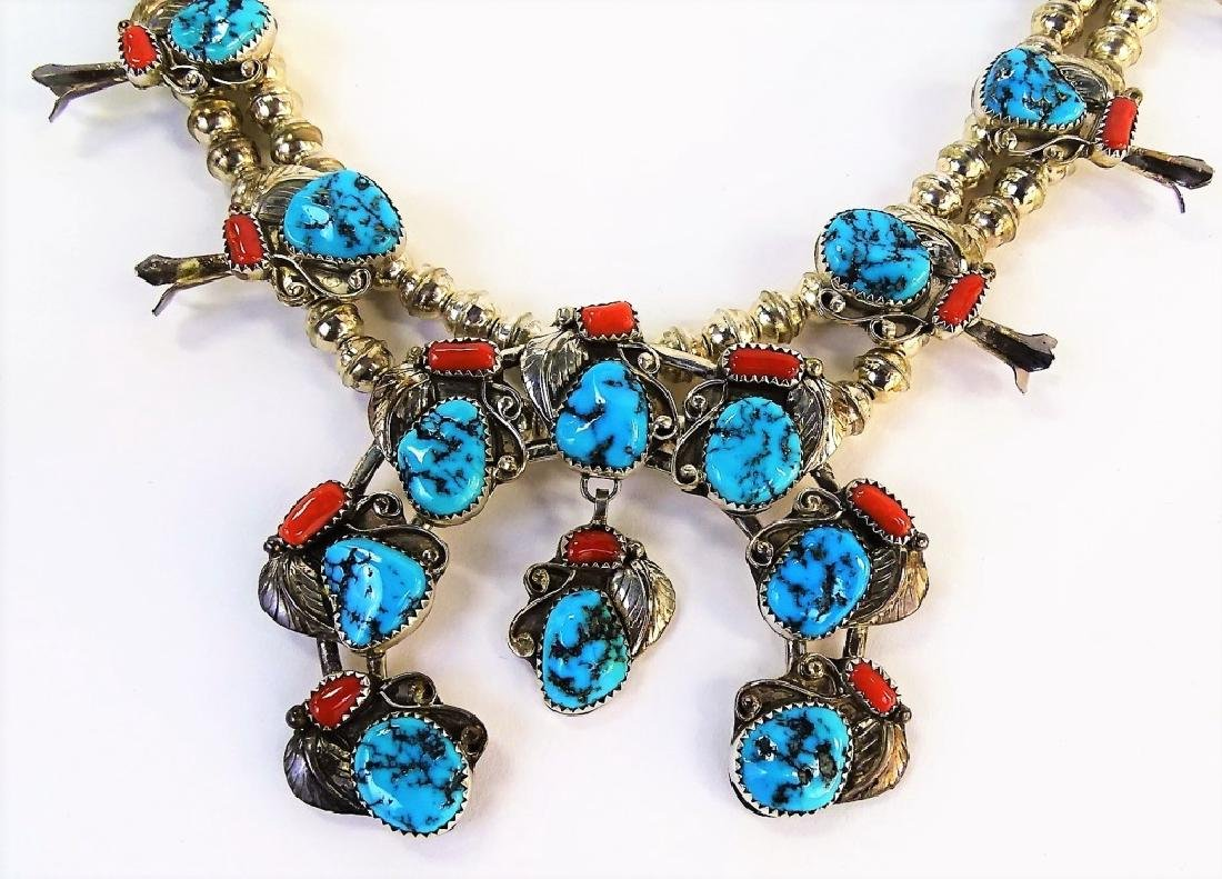 STUNNING MEXICAN STERLING SQUASH BLOSSOM NECKLACE - 3