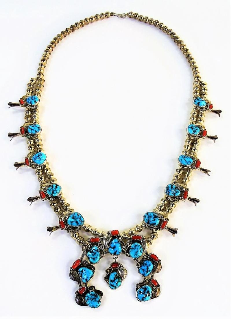 STUNNING MEXICAN STERLING SQUASH BLOSSOM NECKLACE - 4