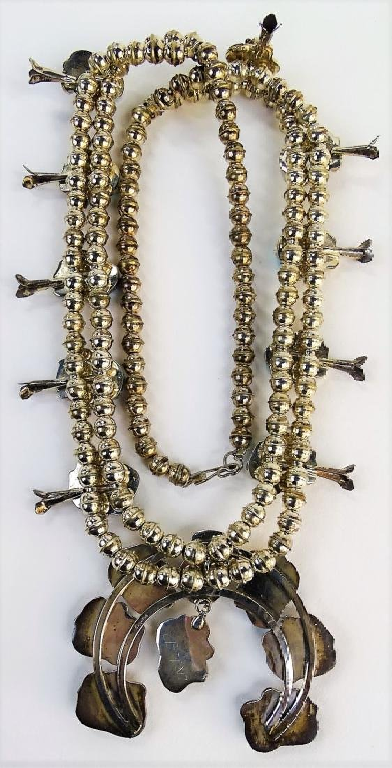 STUNNING MEXICAN STERLING SQUASH BLOSSOM NECKLACE - 5