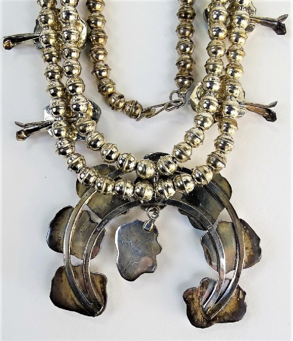 STUNNING MEXICAN STERLING SQUASH BLOSSOM NECKLACE - 6