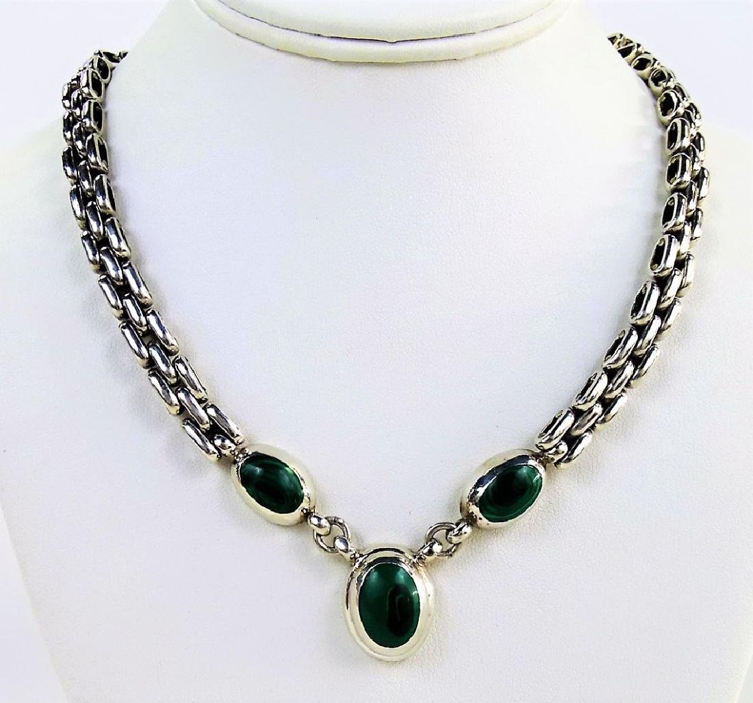 TAXCO MEXICO STERLING & MALACHITE CHARM NECKLACE