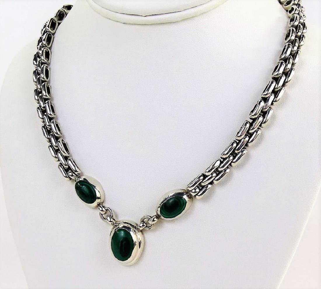 TAXCO MEXICO STERLING & MALACHITE CHARM NECKLACE - 2