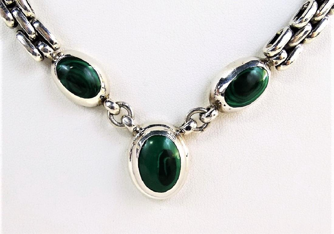 TAXCO MEXICO STERLING & MALACHITE CHARM NECKLACE - 3