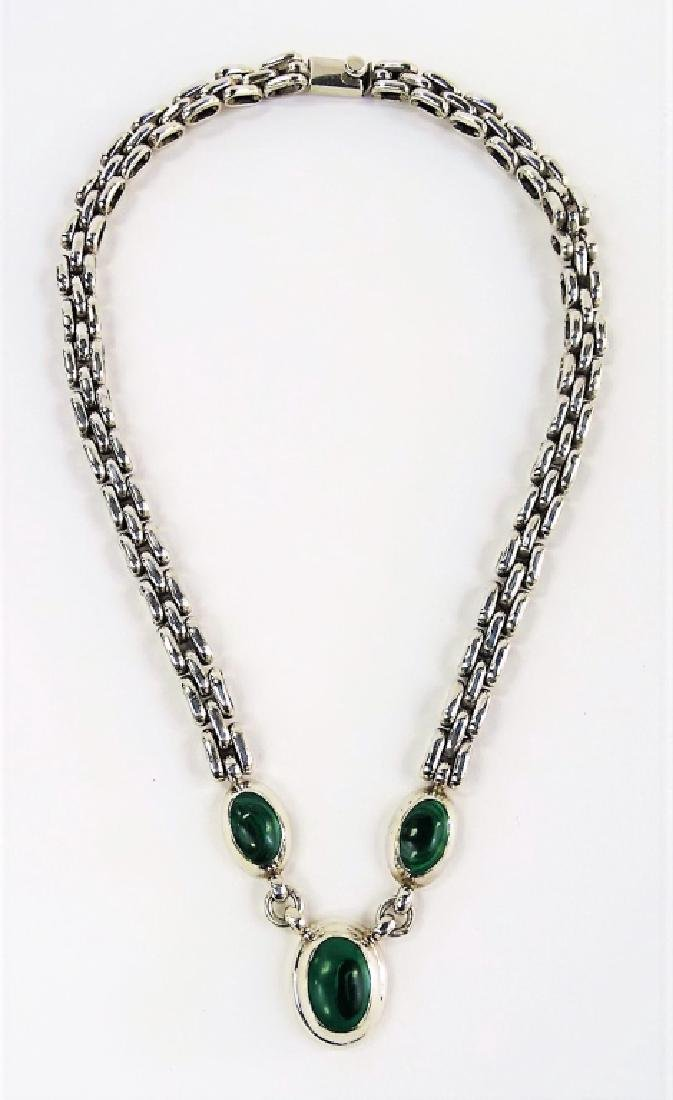 TAXCO MEXICO STERLING & MALACHITE CHARM NECKLACE - 4