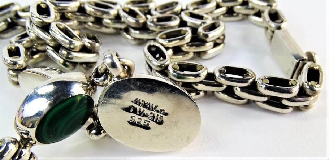 TAXCO MEXICO STERLING & MALACHITE CHARM NECKLACE - 5