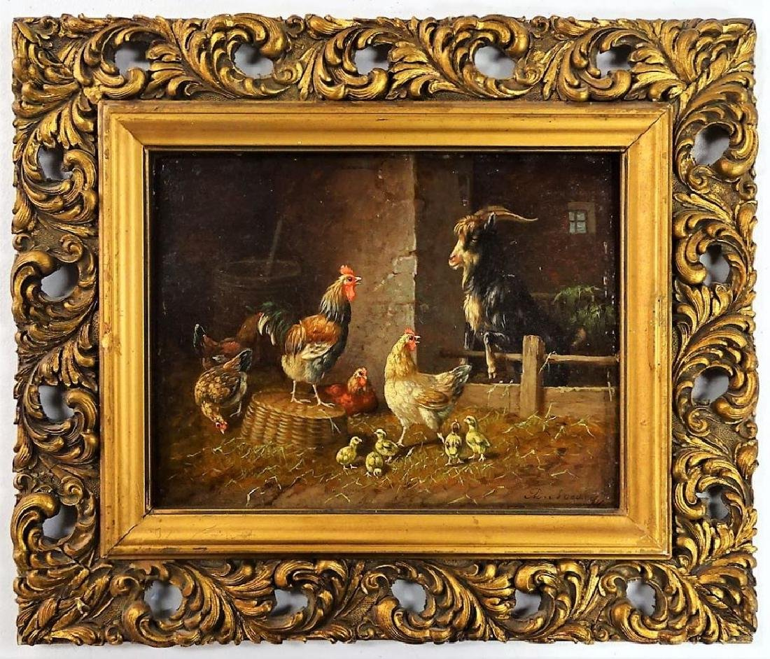 ADOLF D. NOWEY OIL ON PANEL BARNYARD SCENE PTG