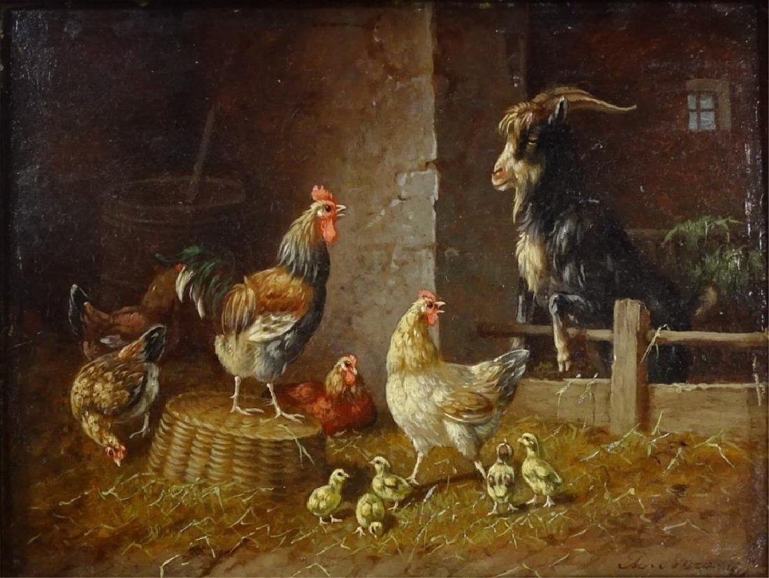 ADOLF D. NOWEY OIL ON PANEL BARNYARD SCENE PTG - 2