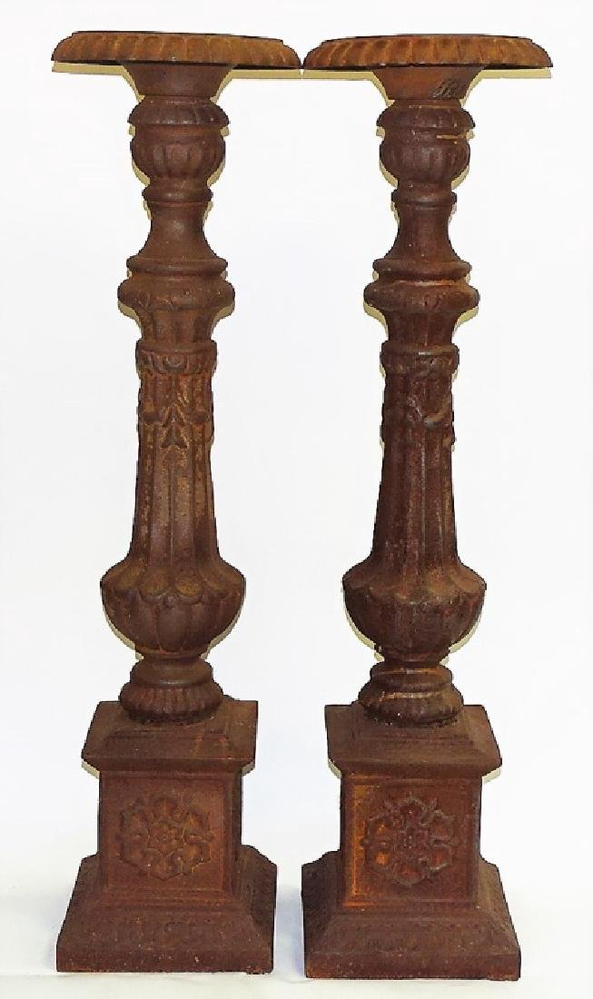 PR MONUMENTAL CAST IRON PRICKET CANDLESTICKS