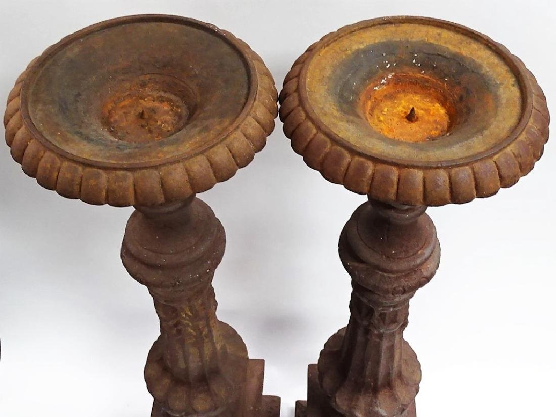 PR MONUMENTAL CAST IRON PRICKET CANDLESTICKS - 2