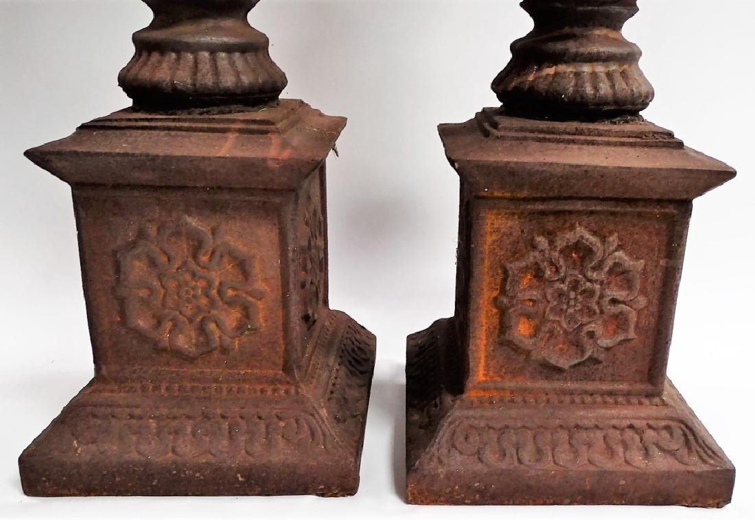 PR MONUMENTAL CAST IRON PRICKET CANDLESTICKS - 3