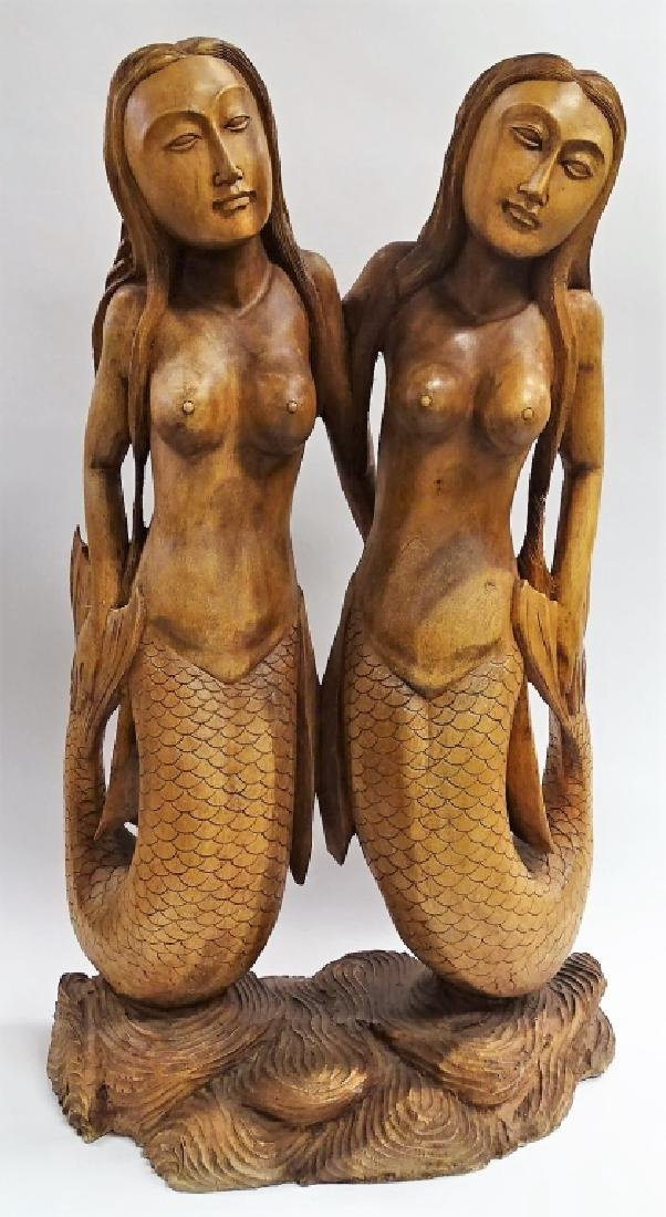CARVED POLYNESIAN DOUBLE MERMAID SCULPTURE