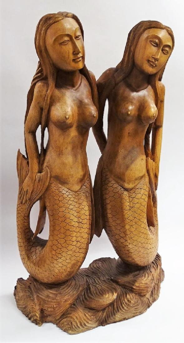 CARVED POLYNESIAN DOUBLE MERMAID SCULPTURE - 2