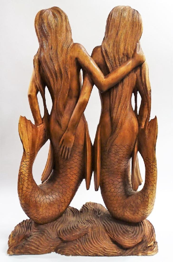 CARVED POLYNESIAN DOUBLE MERMAID SCULPTURE - 3