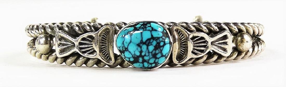 VTG NAVAJO CRAFTED STERLING & TURQUOISE CUFF