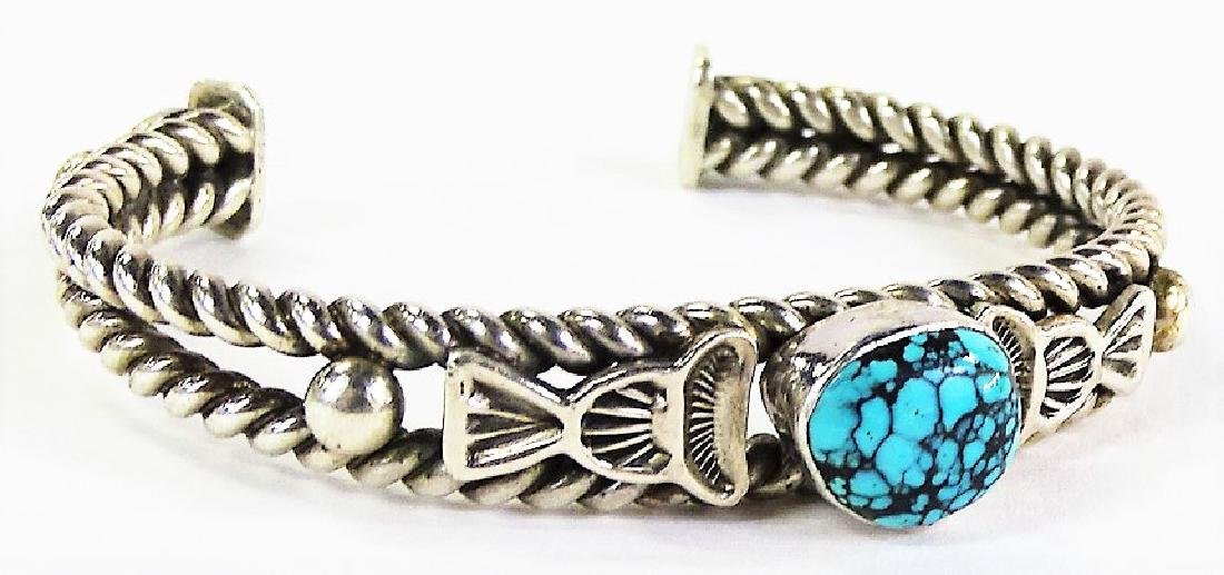 VTG NAVAJO CRAFTED STERLING & TURQUOISE CUFF - 2