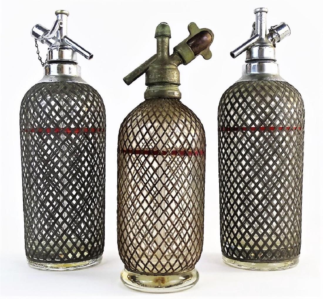 3 ANTIQUE MESH OVERLAY GLASS SELTZER BOTTLES