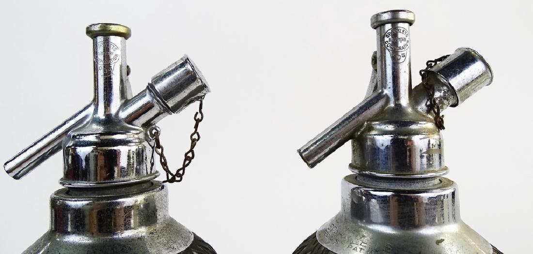 3 ANTIQUE MESH OVERLAY GLASS SELTZER BOTTLES - 6
