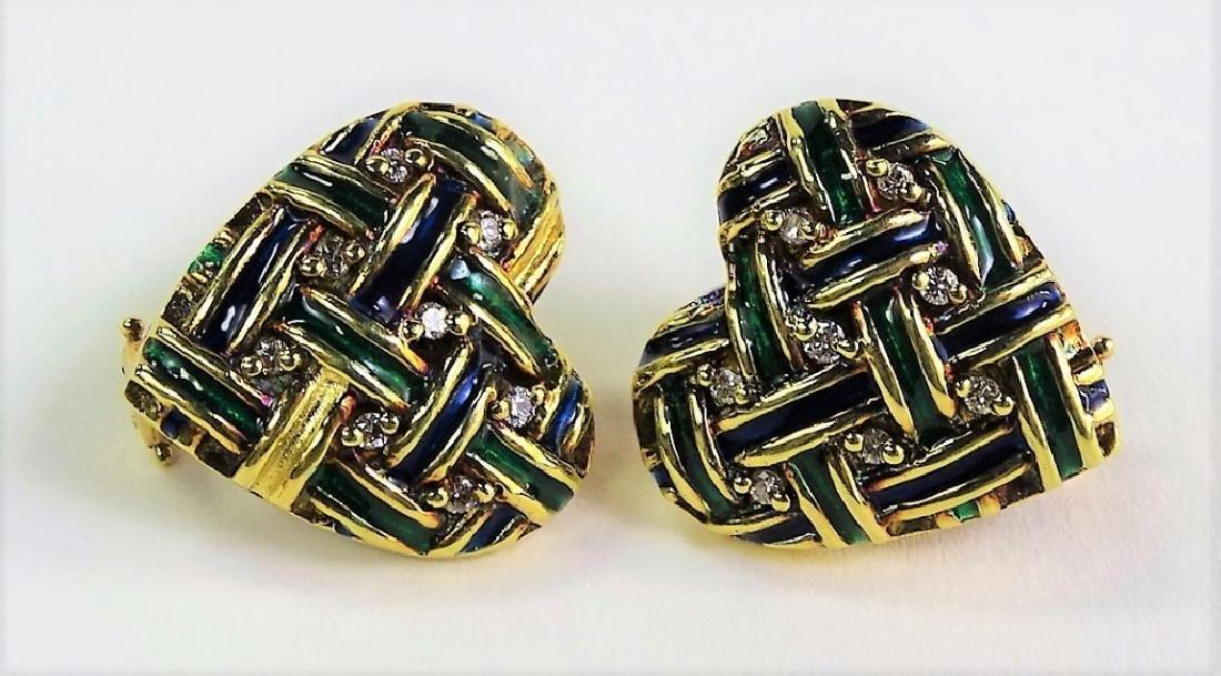 ESTATE 14KT YELLOW GOLD & DIAMOND HEART EARRINGS - 2