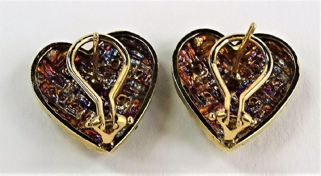 ESTATE 14KT YELLOW GOLD & DIAMOND HEART EARRINGS - 3