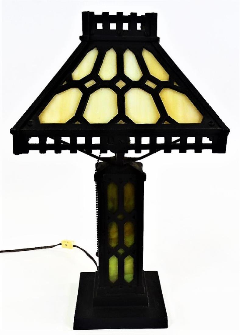 FINE ARTS & CRAFTS IRON SLAG GLASS LAMP